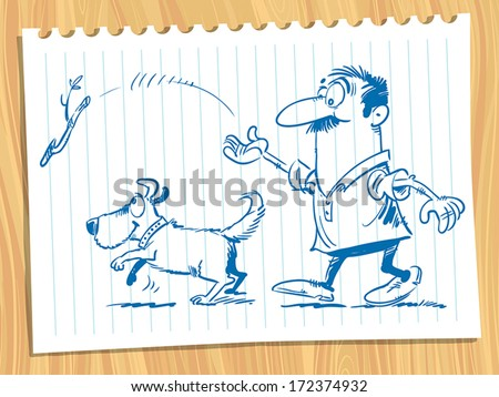 A man plays with the dog. - stock vector