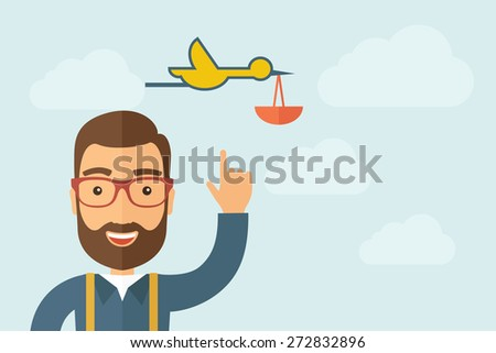 A Man pointing the bird with basket icon. A contemporary style with pastel palette, light blue cloudy sky background. Vector flat design illustration. Horizontal layout with text space on right part. - stock vector