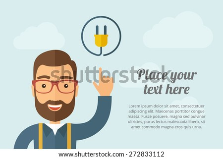 A Man pointing the electric plug icon. A contemporary style with pastel palette, light blue cloudy sky background. Vector flat design illustration. Horizontal layout with text space on right part. - stock vector