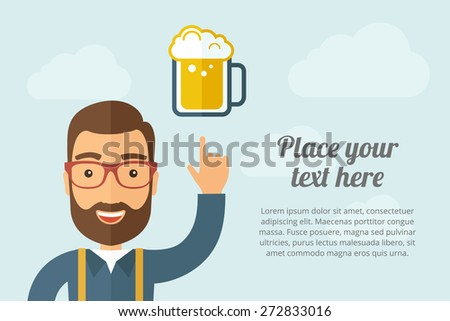 A Man pointing the mug of beer icon. A contemporary style with pastel palette, light blue cloudy sky background. Vector flat design illustration. Horizontal layout with text space on right part. - stock vector