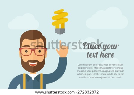A Man pointing the spiral bulb icon. A contemporary style with pastel palette, light blue cloudy sky background. Vector flat design illustration. Horizontal layout with text space on right part. - stock vector