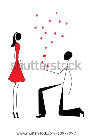 a man proposing to a woman while standing on one knee - stock vector