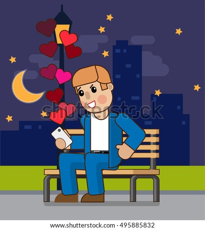 A man reading a message on your phone. The man received a message on the phone. A man sits on a bench. Vector illustration Eps10 file.