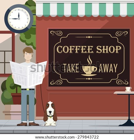 a man reading a newspaper with a dog on the background of cafe - stock vector