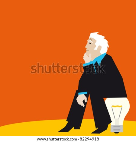 A man so intensely searching the solution, he does not realise he is sitting on it. An orange background symbolising wisdom. - stock vector