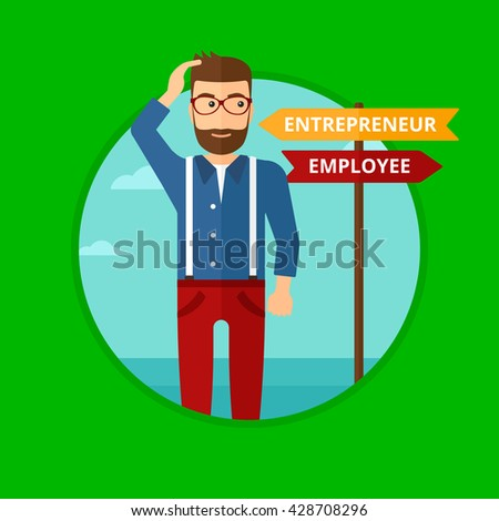 A man standing at road sign with two career pathways. Man choosing career pathway. Man making a decision of his career pathway. Vector flat design illustration in the circle isolated on background. - stock vector