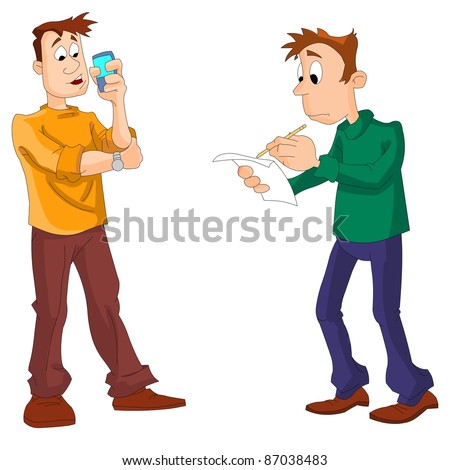 A man talking on a mobile phone, the other writes something on a sheet of paper. Vector illustration. - stock vector