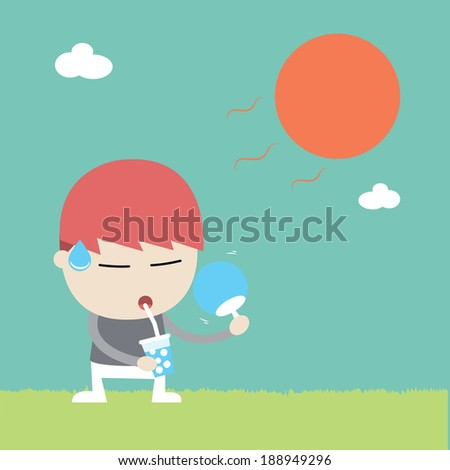 A man uptake to water under hot weather, Vector cartoon business