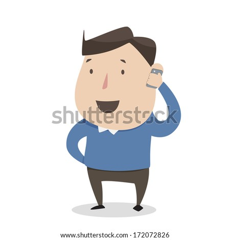 A man using mobile smart phone - stock vector