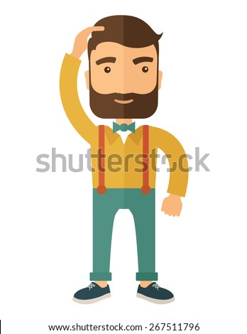 A man with beard standing with hand on his head having a problem in business, difficulties on how to solve his problem. A contemporary style. Vector flat design illustration isolated on white - stock vector