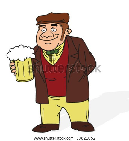 a man with beer - stock vector