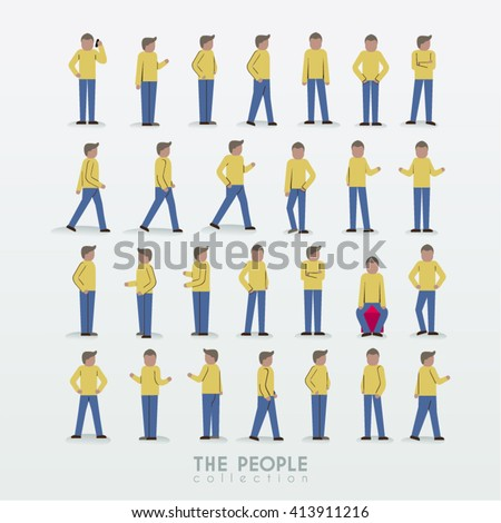 A Man with Different Poses People Icon Collection Vector Design - stock vector