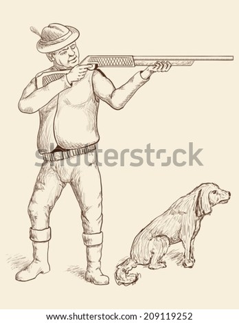 A man with sporting gun and a dog - stock vector