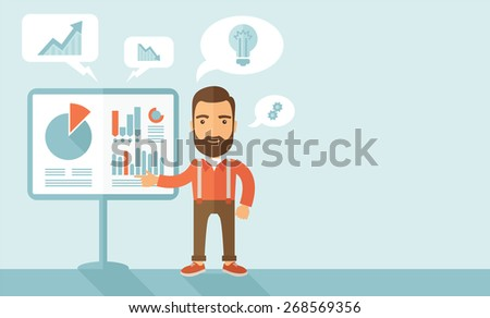 A manager reporting and presenting the show graphs as his m,arketing report on tripod stand inside conference room. Reporting concept. A contemporary style with pastel palette, soft blue tinted - stock vector