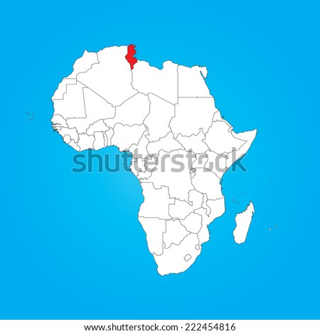 A Map of Africa with a selected country of Tunisia - stock vector