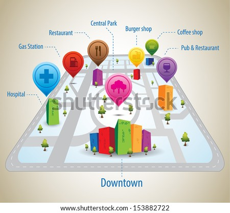 A map of an imaginary city with GPS icons and pin - stock vector