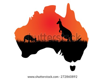 a map of Australia with a couple of kangaroos - stock vector