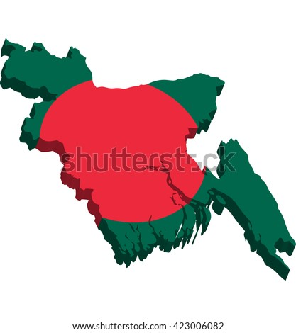 A map of Bangladesh 3D on white background