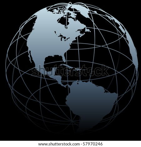 A map of Earth on a globe symbol with East West latitude longitude lines on a black background. - stock vector
