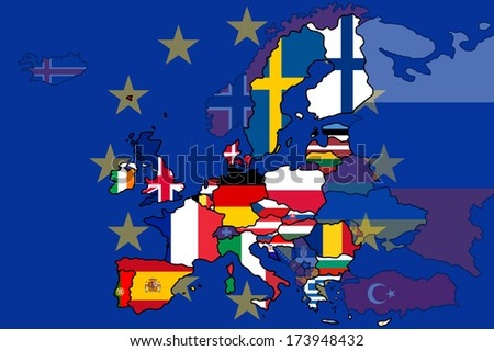 A map of Europe with the European Union states highlighted and non-member states have their opacity lowered. Also has the EU flag as a background. - stock vector