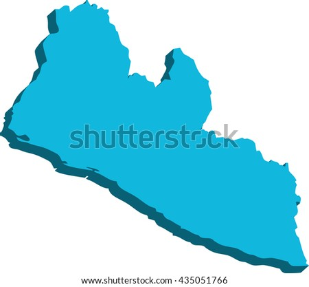 A map of Liberia 3D on white background