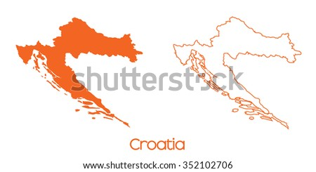 A Map of the country of Croatia - stock vector