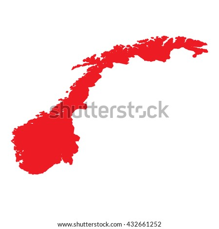 A Map of the country of Norway - stock vector