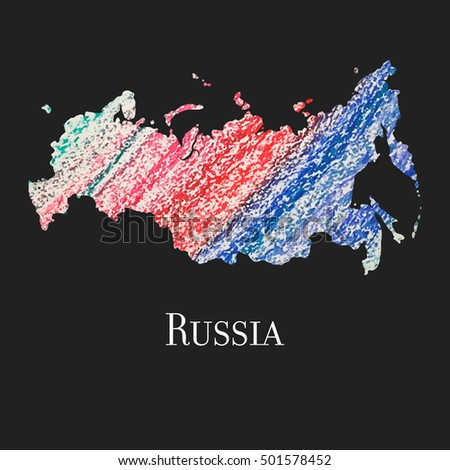 A Map of the country of Russia.  Illustration of Russia. Russia vector map. Silhouette of Russia.