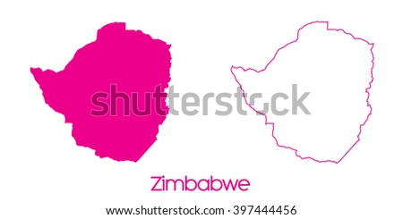A Map of the country of Zimbabwe - stock vector