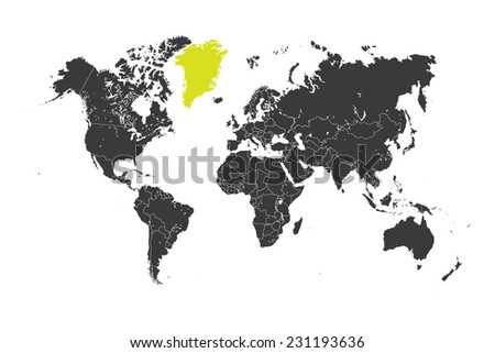 Greenland map stock images royalty free images vectors a map of the world with a selected country of greenland gumiabroncs Choice Image