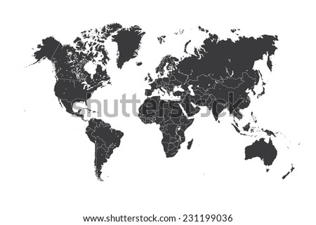 A Map of the world with a selected country of Hawaii - stock vector