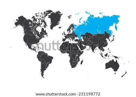 A Map of the world with a selected country of Russia - stock vector