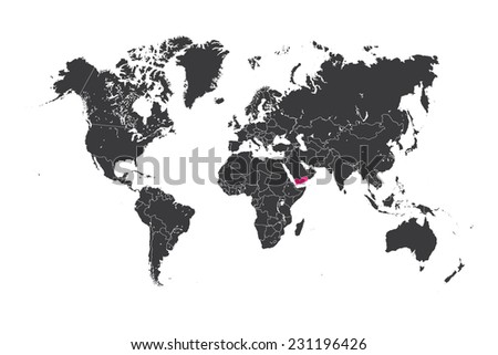 A Map of the world with a selected country of Yemen - stock vector