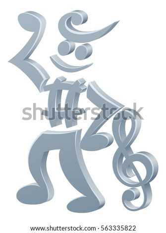Mascot Character Made Musical Notes Music Stock Vector 563335822