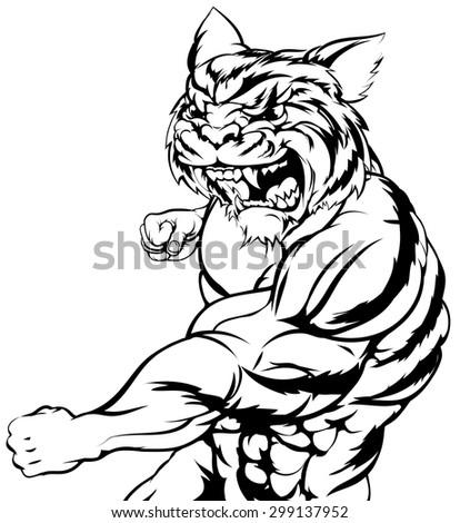 A mean tough tiger animal sports mascot punching at viewer - stock vector