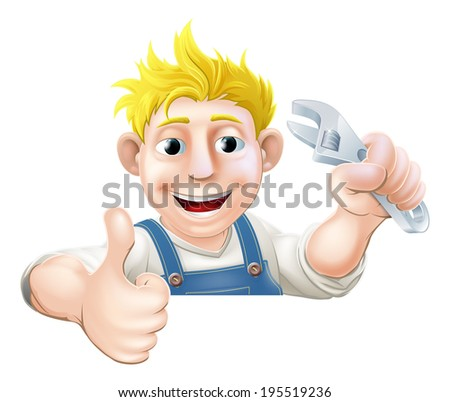 A mechanic or plumber holding a wrench or spanner and giving a thumbs up while peeking over a sign or banner - stock vector