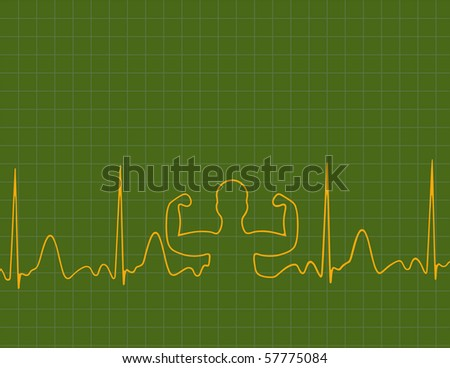A medical background with a heart beat and strong man - stock vector