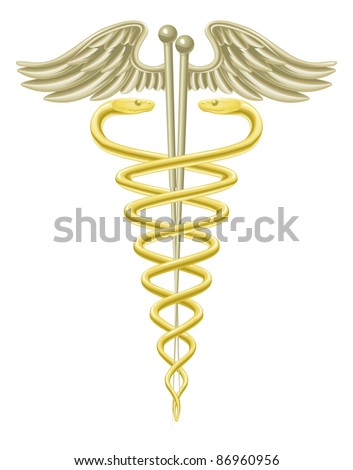 A medical caduceus with acupuncture needles for traditional acupuncture alternative medicine.