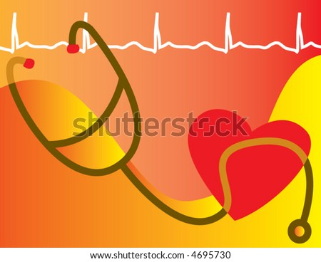 A medical heart healthy scene is depicted in abstraction