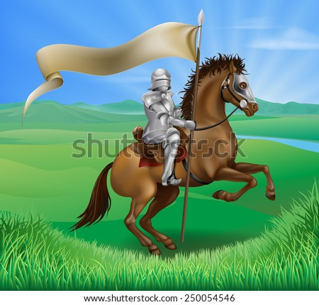 A medieval knight in armor riding on horseback on a brown horse holding a flag or banner in green field of grass - stock vector