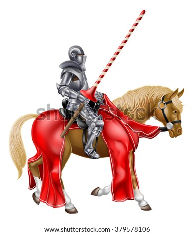 A medieval knight in armour holding a lance ready for a jousting tournament