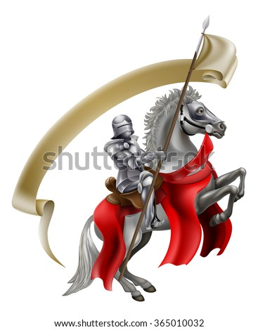 A medieval knight in armour on the back of a rearing white horse holding a spear flag - stock vector