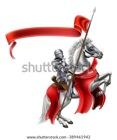 A medieval knight in shining armour on the back of a rearing white horse holding a red banner - stock vector