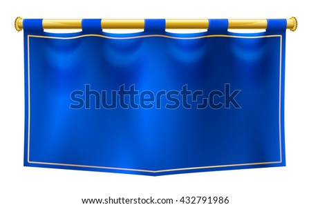 A medieval style blue banner flag suspended on a gold pole - stock vector