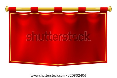 A medieval style red banner flag suspended on a gold pole - stock vector
