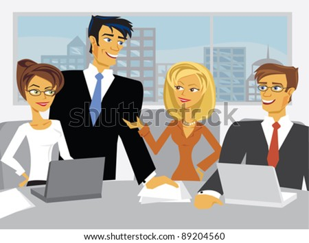 A meeting in a conference room. - stock vector