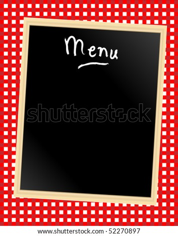 A menu card chalkboard on gingham background. Space for text. - stock vector