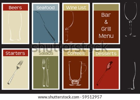 A menu cover set for a bar and grill steak house concept, includes typeface information - stock vector