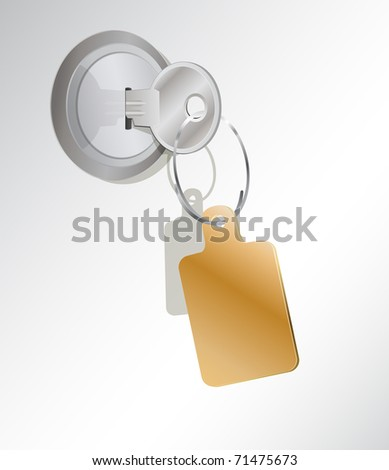 a metal key in a lock  with an empty tag - stock vector