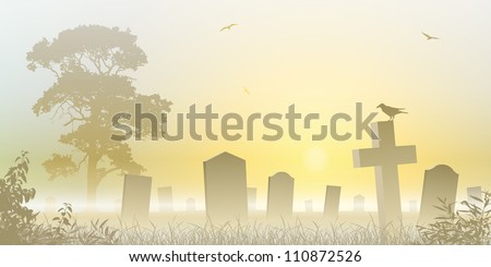 A Misty Graveyard, Cemetery with Tombstones and Tree - stock vector